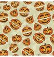 Halloween pumpkins pattern Cute seamless vector image
