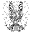 hand drawn easter rabbit with gift and hearts vector image