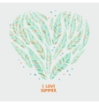 Hand drawn palm leaves in shape of heart vector image vector image