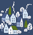 hand drawn winter houses with trees sketch vector image vector image