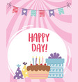 happy day cake gift box party hat and pennants vector image