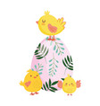 happy easter cute chickens colored egg flowers vector image