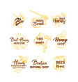 honey sketches logos set bee hive honey jar vector image