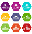ice cream stall icons set 9 vector image vector image