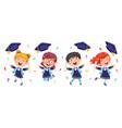kids in graduation costume vector image vector image