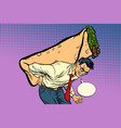man carries shawarma doner kebab vector image