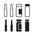 Medical ampoule or vaccine icon set vector image