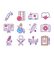 medicine industry color linear icons set vector image