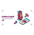 mobile online casino for smartphone vector image
