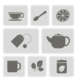 monochrome icons with accessories for tea vector image vector image