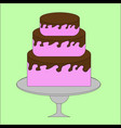 pink and chocolate cake on a stand vector image
