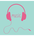 Pink headphones with cord and word Music Card vector image vector image