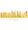 prague city skyline golden silhouette vector image