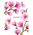 realistic magnolia flower frame vector image vector image