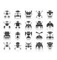 robot black silhouette icons set vector image