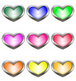 set of colored buttons in the shape of a heart vector image vector image