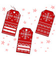 set of rectangular christmas knitted labels vector image
