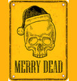 skull santa claus with hat on sign danger black vector image vector image