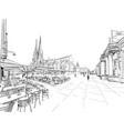 street cafe on background basilica vector image