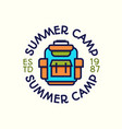 summer camp logotype color style vector image vector image