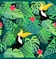 tropical leaves seamless pattern with hornbill vector image vector image