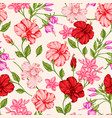 tropical pattern with red and pink flowers vector image