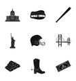 USA country set icons in black style Big vector image vector image