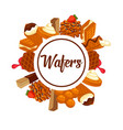 wafers and waffles dessert cookie or cake desserts vector image vector image