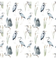 Watercolor heron pattern vector image vector image