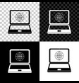 website on laptop screen icon on black white and vector image vector image