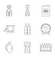 wine company icon set outline style vector image vector image