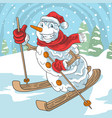 winter ski snow ball santa claus christmas vector image