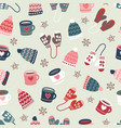winter time warm clothes cookies and mugs seamless vector image vector image