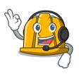 with headphone construction helmet mascot cartoon vector image
