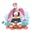 woman baking and decorating easter holidays cakes vector image