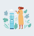 Woman standing near water cooler and drink water