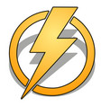 yellow thunder in circle with shadow isolated vector image