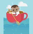 young african businessman young is rowing like vector image vector image