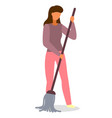 young woman housewife cleaning floor with a vector image