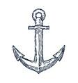 vintage anchor hand drawn sketch logo design vector image