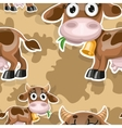 Seamless background with cute baby cow vector image