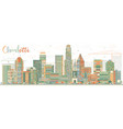 abstract charlotte skyline with color buildings vector image