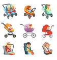 baby carriage set different types of children vector image vector image