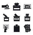 ballot voting box vote icons set simple style vector image
