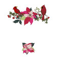 banner with christmas plants and cardinalis vector image vector image