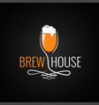 beer glass vintage logo on black background vector image vector image