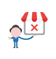 businessman character holding shop store with x vector image vector image