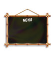 cafe menu board with bamboo frame isolated on vector image
