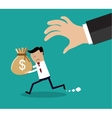 Cartoon hand tries to grab the bag of money vector image vector image