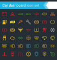 Colorful car dashboard interface and indicators